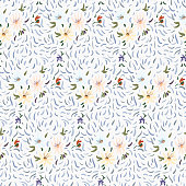 Seamless pattern of pale yellow, pink and blue anemone flowers in post-impressionism style