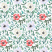 Seamless pattern of red, pale violet and beige anemone flowers in post-impressionism style