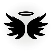 Abstract angel image. The wings and halo. Isolated object. Icon vector.