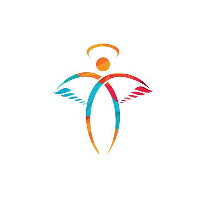 Abstract Angel Vector Logo Design.