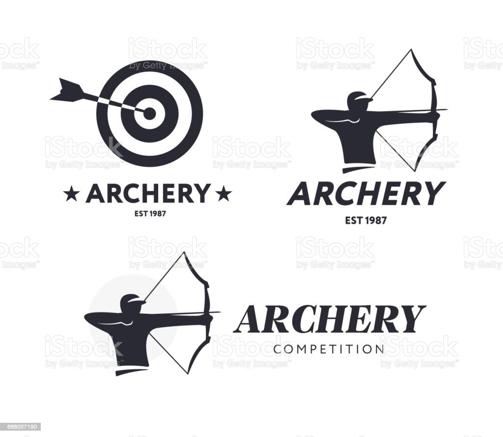 Abstract archery. Vector badge concept. Archer with sport bow vector art illustration