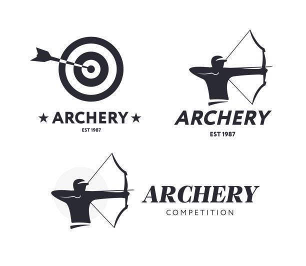 Resumen tiro con arco. Concepto de vector insignia. Arquero con arco deporte - ilustración de arte vectorial