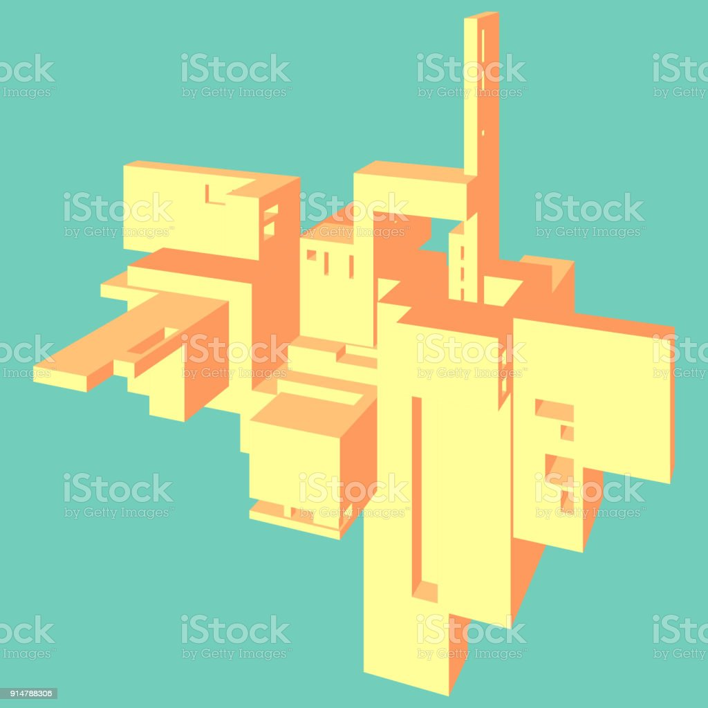 Abstract architectural 3d composition vector color graphics abstract architectural 3d composition vector color graphics geometric cubic shapes yellow orange ccuart Gallery