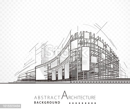 Architecture abstract black and white building design background.