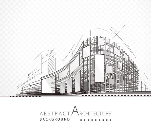 abstract architecture building - konstrukcja budowlana stock illustrations