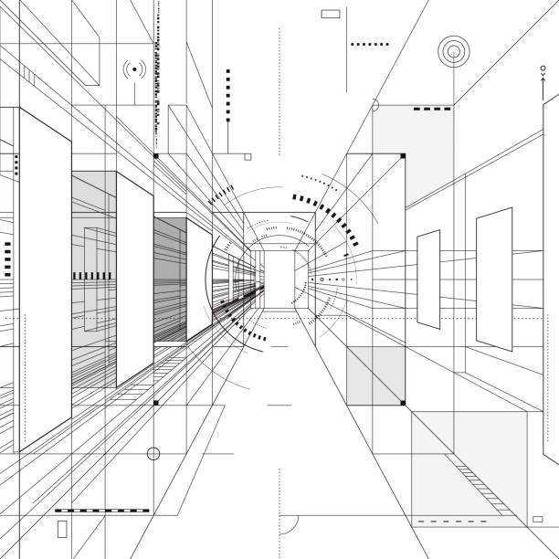 Abstract Architecture Design Abstract architecture perspective 3D illustration background. architecture patterns stock illustrations