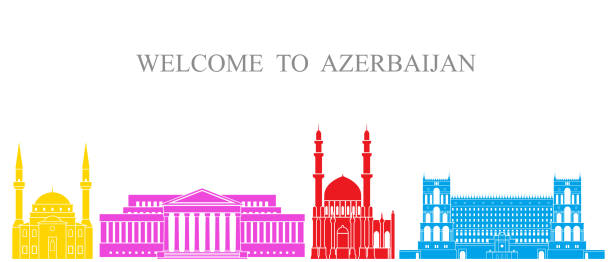 Abstract architecture. Isolated Azerbaijan   architecture on white background EPS 10. Vector illustration azerbaijan stock illustrations