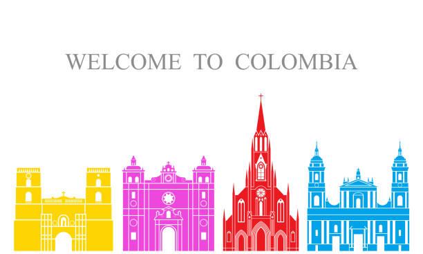 abstrakt architektur. isolierte kolumbien architektur auf weißem hintergrund - cartagena stock-grafiken, -clipart, -cartoons und -symbole