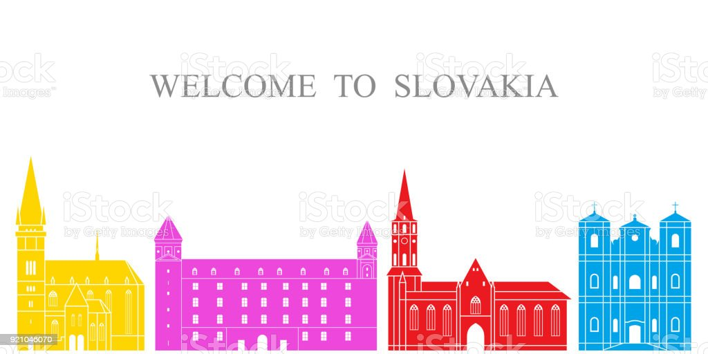 Abstract architecture. Isolated Slovakia architecture on white background vector art illustration