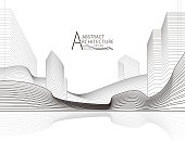 3D illustration architecture building construction perspective design, abstract modern urban landscape line drawing.