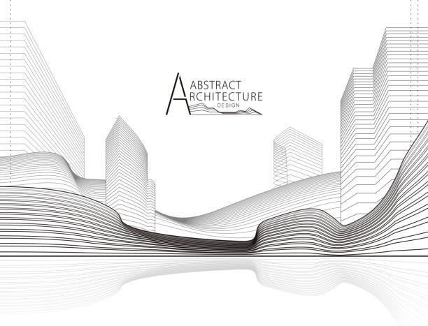 bildbanksillustrationer, clip art samt tecknat material och ikoner med abstrakt arkitektur liggande linje ritning. - arkitektur