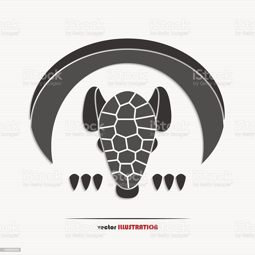 Abstract armadillo web icon vector art illustration
