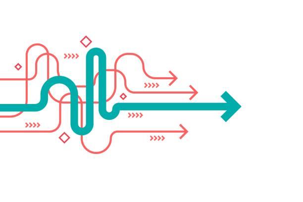 abstrakcyjna ilustracja kierunku strzałki, płaska konstrukcja, edytowalny skok, kompozycja przestrzeni, koncepcja lidera biznesu. - ruch stock illustrations
