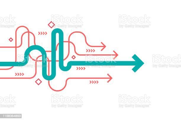 Abstract Arrow Direction Illustration Flat Design Editable Stroke Cope Space Composition Business Leader Concept - Arte vetorial de stock e mais imagens de Abstrato