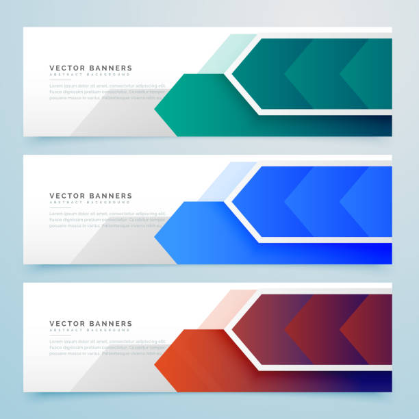 abstract arrow geometric banners set vector art illustration