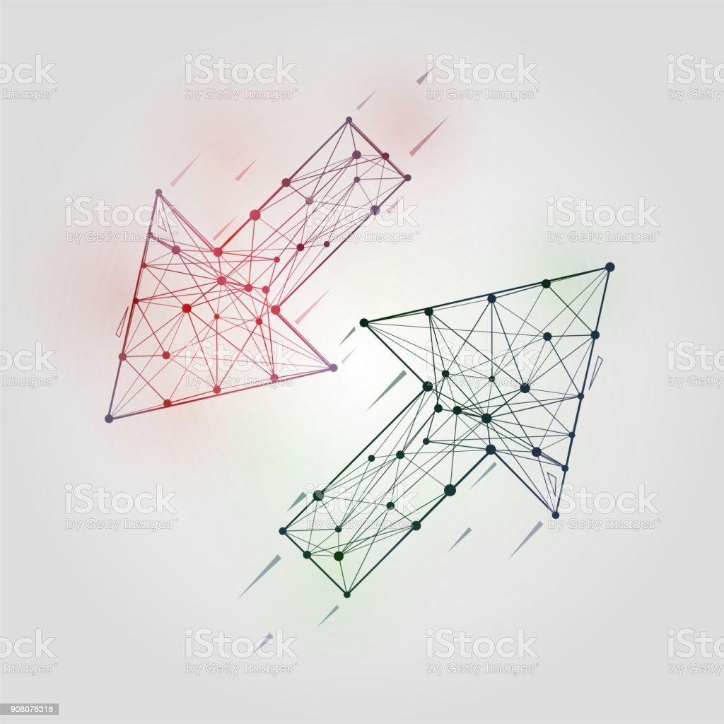 Abstract Arrows Set Low Poly Geometrical Figures With Wireframe