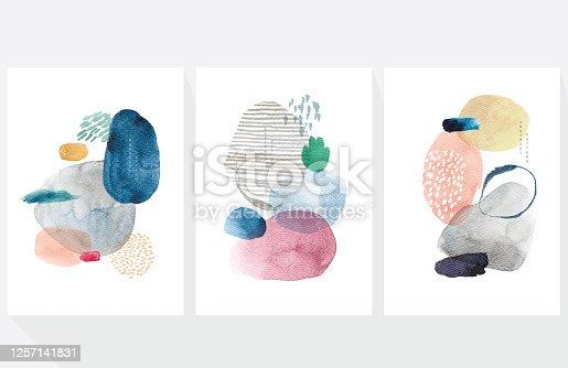 Fondo de arte abstracto con vector de patrón de onda japonés. Decoración de textura de pincel de pintura de acuarela con diseño de cartel de acrílico de arte.