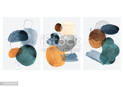 istock Abstract art background with watercolor stain elements vector. Painting brush texture decoration with art acrylic poster design. 1230826265