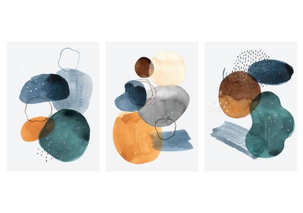 illustrations, cliparts, dessins animés et icônes de fond abstrait d'art avec le vecteur d'éléments de tache d'aquarelle. décoration de texture de pinceau de peinture avec la conception d'affiche d'acrylique d'art. - art