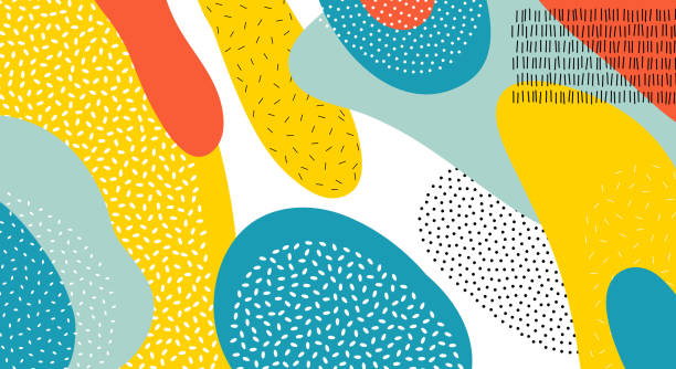 Abstract art color vector  lines and dots pattern background of colorful oval or circle shapes in red, yellow, or blue on white background design vector art illustration