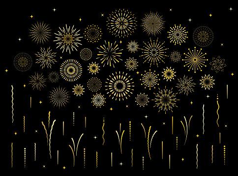 Abstract art deco burst gold pattern fireworks set