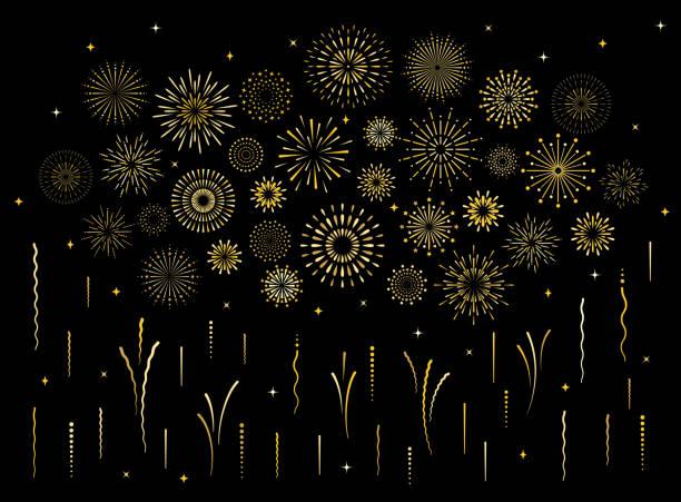 abstrakcyjny art deco rozerwał złoty wzór fajerwerków zestaw - fireworks stock illustrations