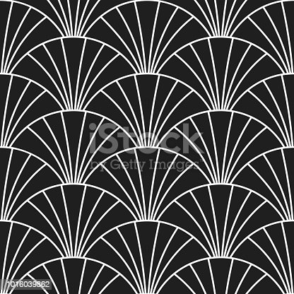 Abstract art deco pattern background. Vector scales or arches in Gatsby retro style seamless design with linear tiles pattern on black