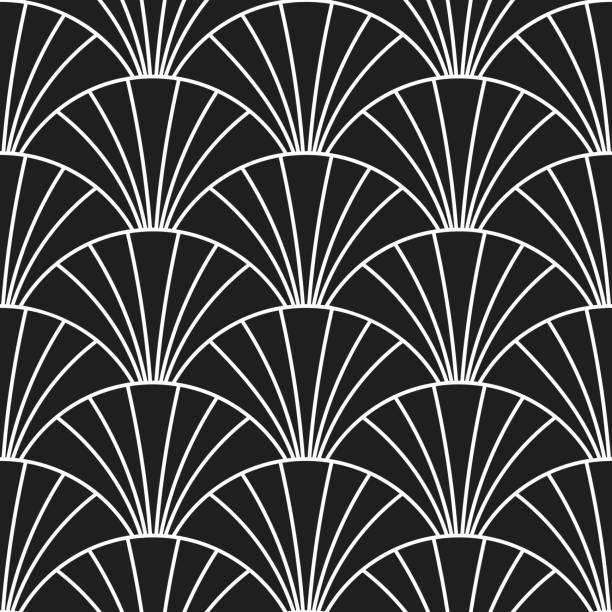 Abstrakte Kunst-Deco Muster Hintergrund. Vektor-Skalen oder Bögen in Gatsby Retrostil nahtloses Design mit linearen Fliesen Muster auf schwarz – Vektorgrafik