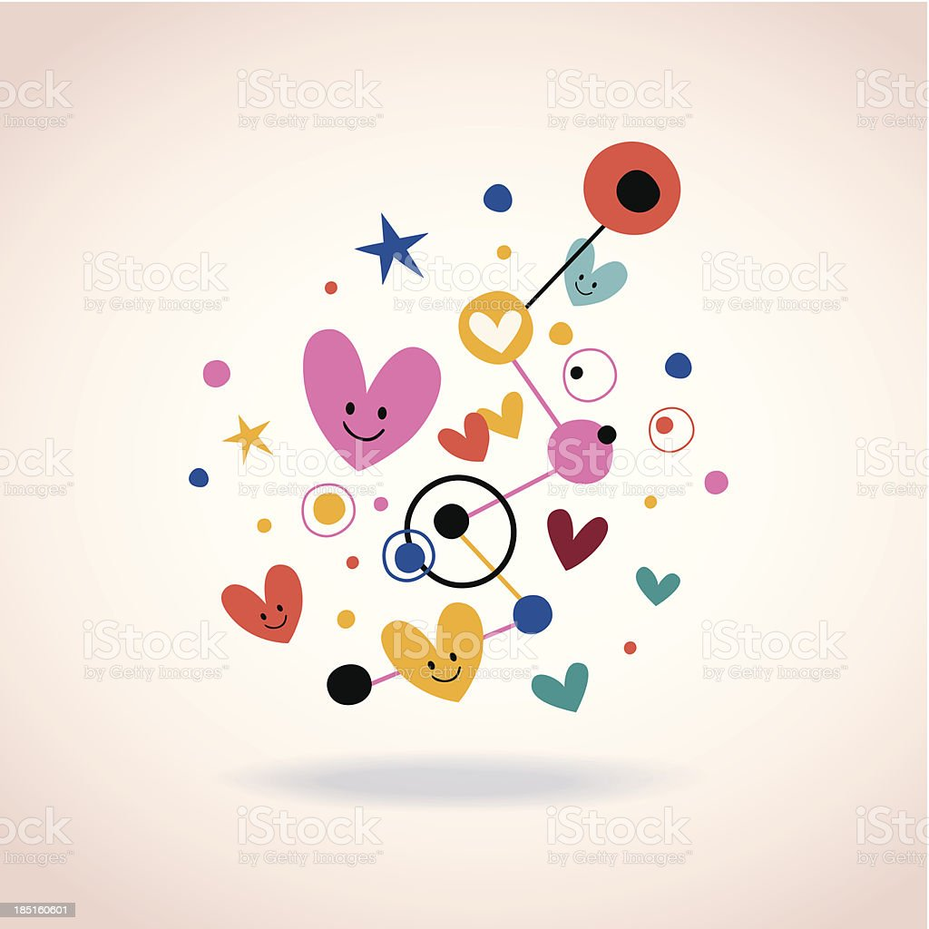 abstract art illustration with cute hearts and dots royalty-free stock vector art