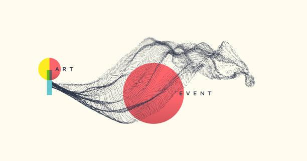 abstrakte kunst im japanischen stil. array mit dynamisch emittierten partikeln. wasserspritze nachahmung. moderner wissenschaftlicher hintergrund. vektor-illustration. - landscape crazy stock-grafiken, -clipart, -cartoons und -symbole