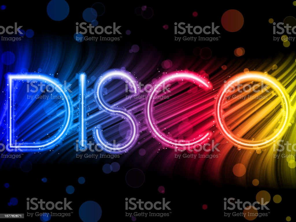 Abstract art of colorful lettering of Disco word vector art illustration