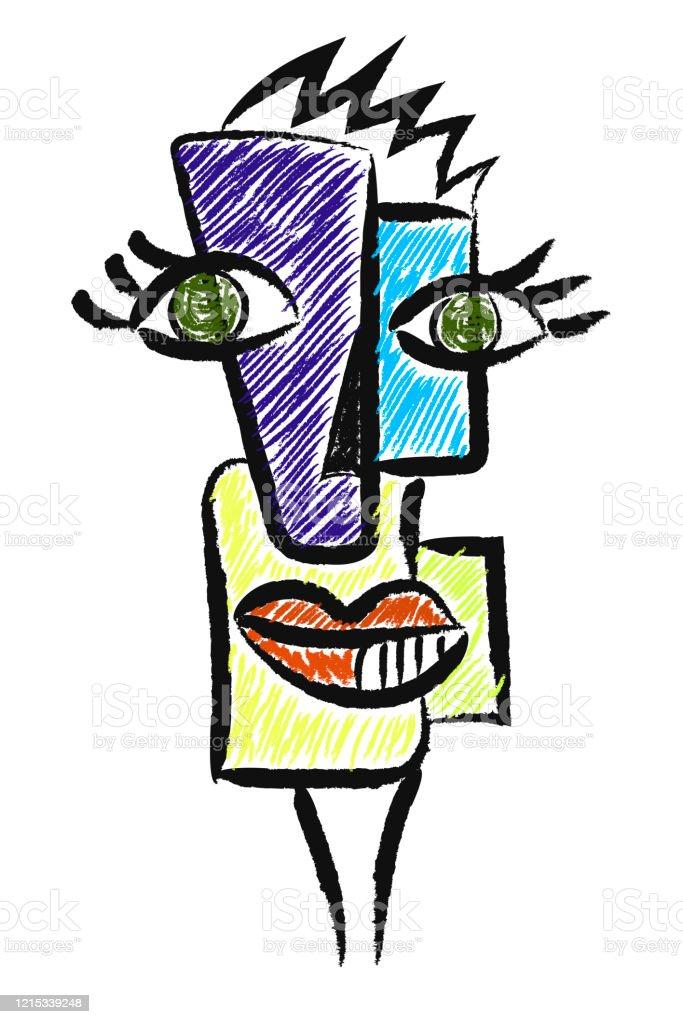 Abstrakte Kunst Malerei Frau Gesicht Mit Augen Und Lippen Stock Vektor Art Und Mehr Bilder Von Abstrakt Istock