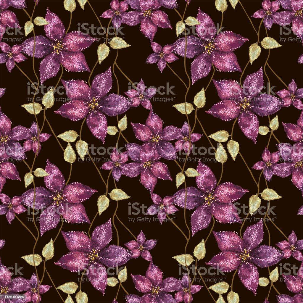 Beautiful floral vector seamless pattern. Template for textile,...
