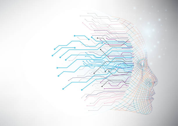 Abstract artificial intelligence with machine learning process that can use for business presentation. Digital and innovation concept. machine learning stock illustrations