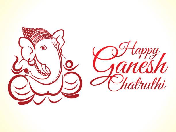 abstrakte künstlerische ganesha chaturhi hintergrund - ganesh stock-grafiken, -clipart, -cartoons und -symbole