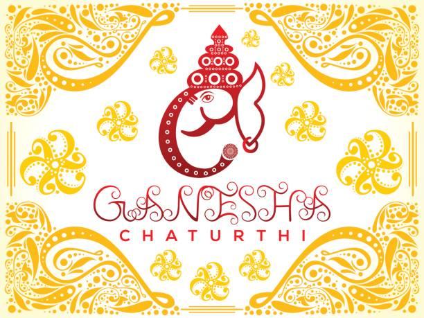 abstrakte künstlerische ganesha chaturthi hintergrund - ganesh stock-grafiken, -clipart, -cartoons und -symbole