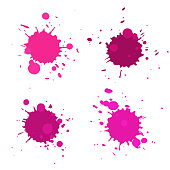 Set of vector abstract artistic paint splashes and drops. Pink ink blots isolated over white background.