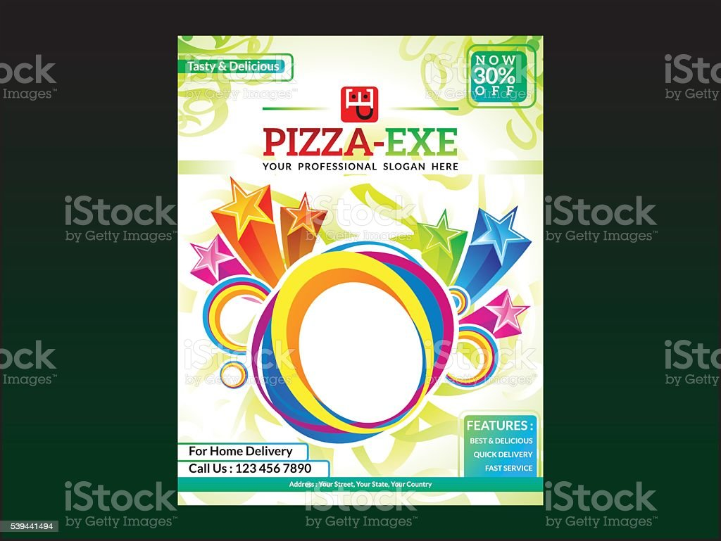 abstract artistic pizza flyer template stock vector art more