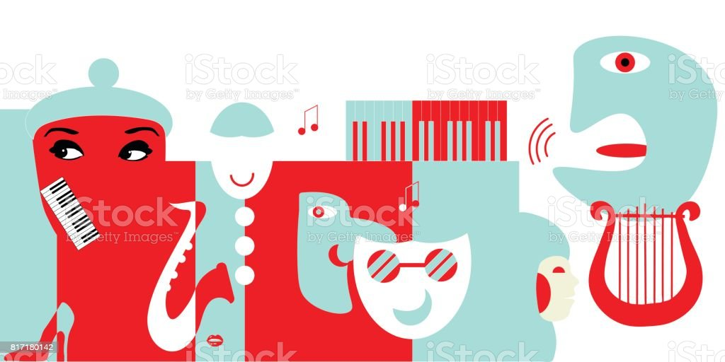 Abstract artwork for classical music concert or theater. Could be use as music background or as design element for theater posters, tickets, flyers or philharmonic hall promotions. vector art illustration