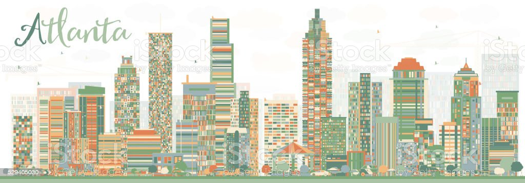 Abstract Atlanta Skyline with Color Buildings. vector art illustration