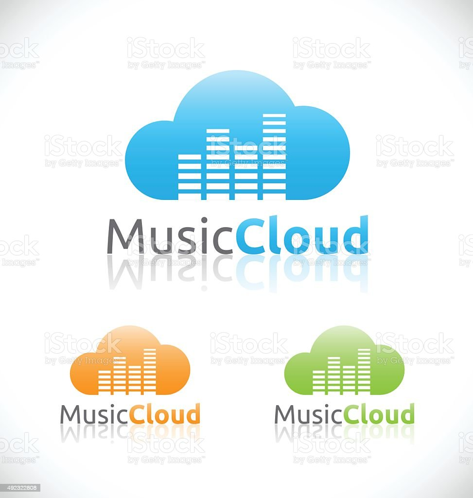 Abstract audio music cloud online service and technology logo design vector art illustration