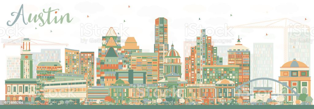 Abstract Austin Skyline with Color Buildings. vector art illustration