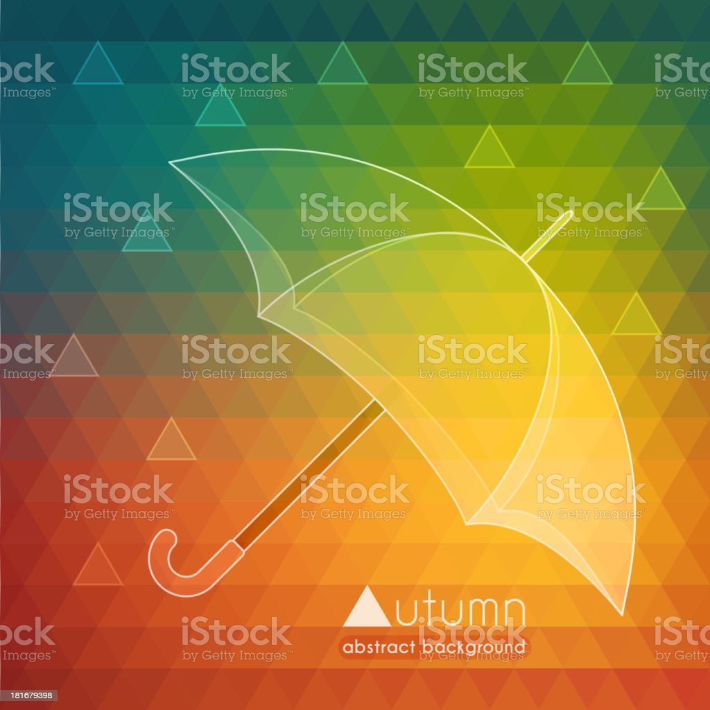 Abstract autumn illustration with umbrella and raindrops royalty-free stock vector art