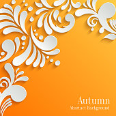 Abstract Autumn Orange Background with 3d Floral Pattern. Trendy Design Template