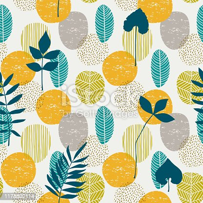 istock Abstract autumn seamless pattern with leaves. Vector background for various surface. 1178802114
