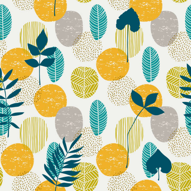 Abstract autumn seamless pattern with leaves. Vector background for various surface. Abstract autumn seamless pattern with leaves. Vector background for various surface. Trendy hand drawn textures. autumn patterns stock illustrations