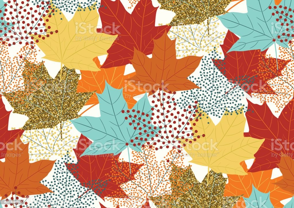 Abstract autumnal seamless pattern with flying maple leaves. vector art illustration
