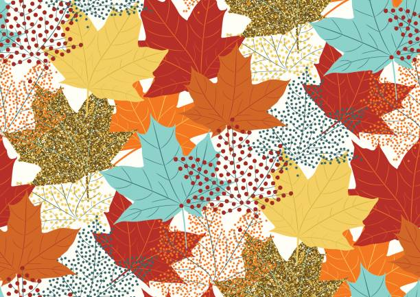 Abstract autumnal seamless pattern with flying maple leaves. Seamless pattern with flying maple leaves for fall season. Vector illustration fall background stock illustrations