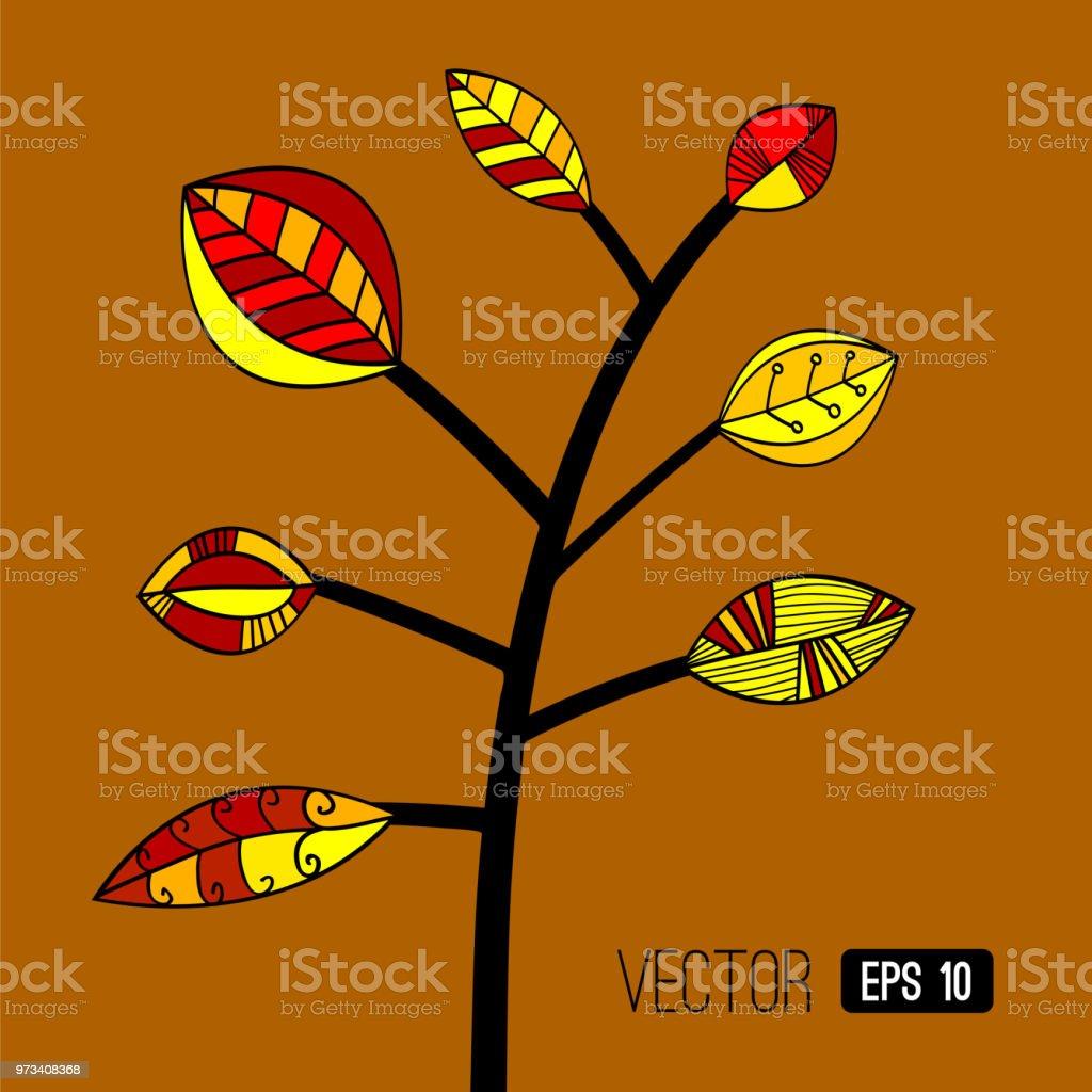 黄色の背景にカラフルな抽象的な紅葉の木を残します秋の風景の壁紙ベクトルの図 いたずら書きのベクターアート素材や画像を多数ご用意 Istock