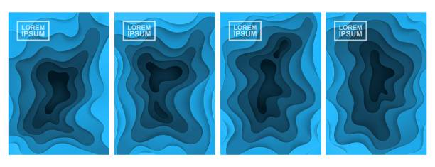 3D abstract background. A set of four options. Layers cut from paper. vector art illustration